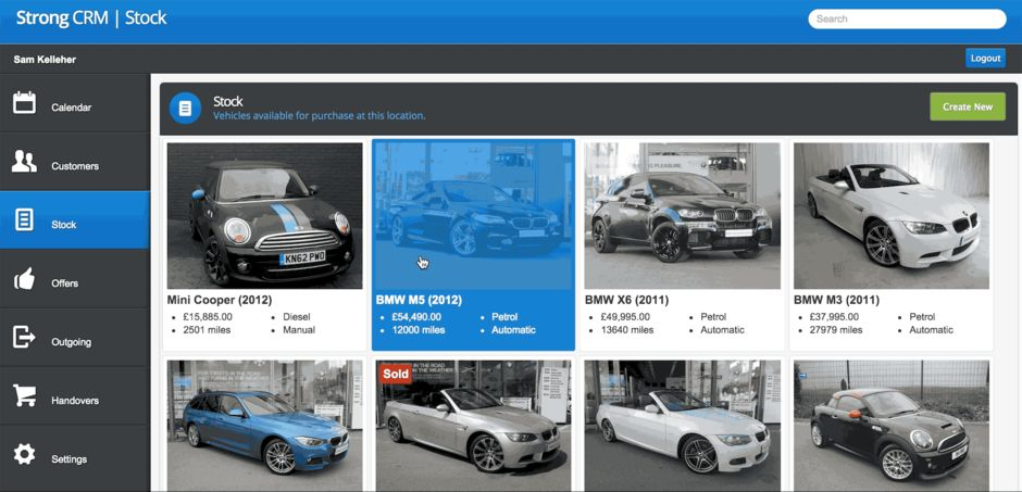 Backbone + WebSocket Single Page Application for Car Dealerships