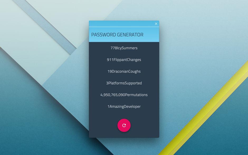 Dictionary Based Password Generator - Cross-Platform Chrome App