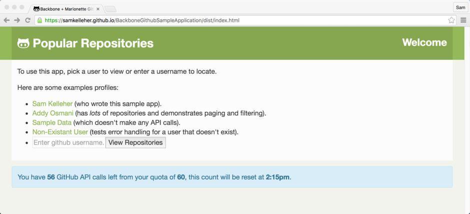 Backbone + Marionette GitHub Repository List - Sample Application